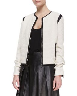 Womens Faux Leather Trim Cardigan Jacket   10 Crosby Derek Lam   Cream (4)