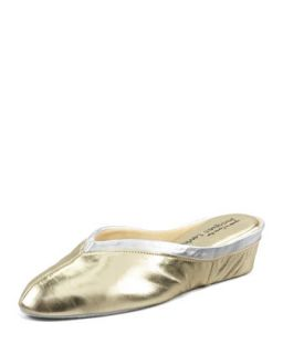 Spanish Leather Wedge Mule, Gold/Silver   Jacques Levine   Gold silver (36.0B/6.
