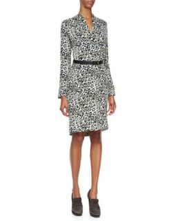 Womens Long Sleeve Animal Print Silk Dress, Nile Blue/Multi   Derek Lam   Nile