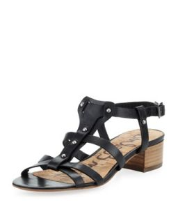 Angela Studded T Strap Sandal, Black   Sam Edelman   Black (10B)