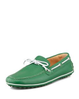 Mens Slip On Driving Shoe, Green   Car Shoe   Green (10)