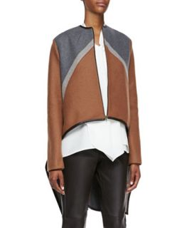 Womens Tricolor Zip Cape Jacket   Derek Lam   Camel/Grey (44)
