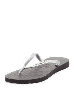 Slim Metallic Flip Flop, Black/Silver   Havaianas   Silver (41/42)