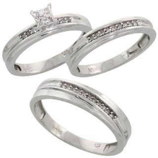 10k White Gold Diamond Trio Engagement Wedding Ring Set for Him and Her 3 piece 5 mm & 3.5 mm wide 0.13 cttw Brilliant Cut, ladies sizes 5   10, mens sizes 8   14: Jewelry