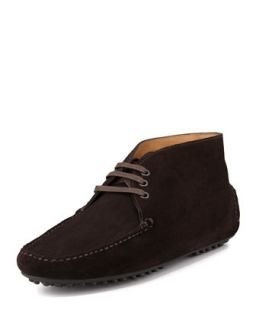 Mens Suede Lace Up Driving Shoe, Dark Brown   Car Shoe   (8 1/2)