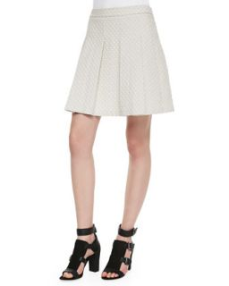 Womens Quilted Jersey Pleated Skirt   10 Crosby Derek Lam   Ivory (12)