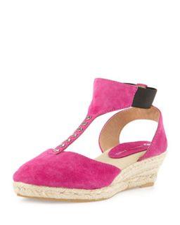 Diana Suede T Strap Wedge Sandal, Fuchsia   Jacques Levine   Fuschia (37.0B/7.