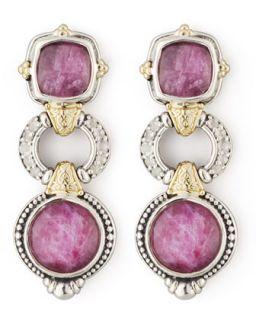 White Topaz & Ruby 3 Tier Drop Earrings   KONSTANTINO   Silver/Gold