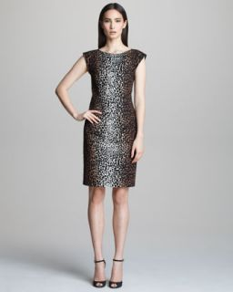 Womens Cap Sleeve Animal Print Dress   Derek Lam   Camel black (40)
