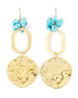 Turquoise Bead Disc Earrings   Devon Leigh   Turquoise/Blue