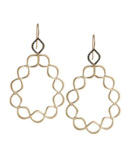 Woven Aladdin Link Pear Earrings with Black Diamonds   Jamie Wolf   Black