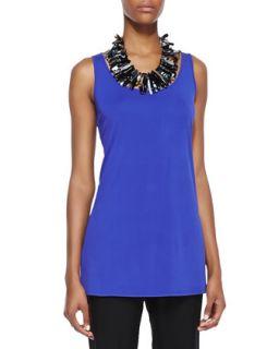 Long Silk Jersey Tunic, Blue Violet, Womens   Eileen Fisher   Blue violet (2X