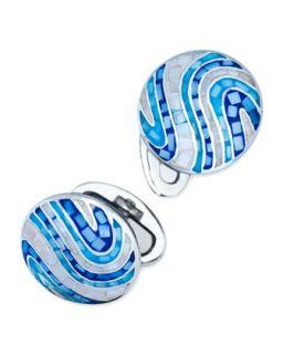 Mens Round Tonal Mosaic Swirl Cuff Links, Blue   Jan Leslie   Blue