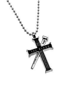 "Christian Mens Black Stainless Steel Abstinence ""The Blood   By His (Jesus') Blood We Shall Be Saved The Blood Of Jesus Christ His Son Cleanseth Us From All Sin."", nail reads ""Established 33 A.D."" Romans 5:9, 1 John 1:7 Iron Cross P"