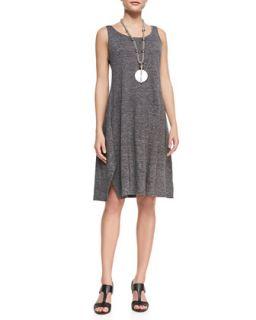 Womens Scoop Neck Melange Jersey Dress   Eileen Fisher   Graphite (M (10/12))