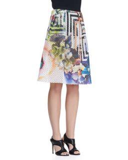Womens Laser Cut Floral Maze Skirt   Clover Canyon   Multi (SMALL)