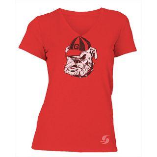 SOFFE Womens Georgia Bulldogs No Sweat V Neck Short Sleeve T Shirt   Size: