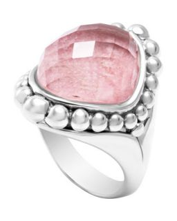 Silver Maya Rhodochrosite North South Dome Ring   Lagos   Silver (7)