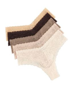 Womens Five Pack Low Rise Lace Thong Set, Perfect Nudes   Cosabella   Pnncc