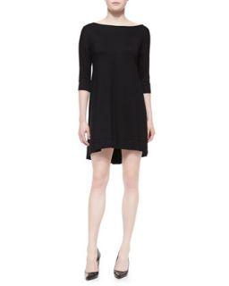 Womens 3/4 Sleeve Fishtail Jersey Dress   Three Dots   Black (SMALL)