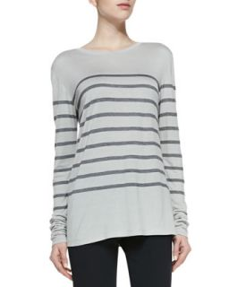 Womens Long Sleeve Striped Top, Concrete/Coastal   Vince   Concrete/Coastal