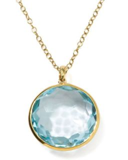 18k Gold Rock Candy Lollipop Pendant Necklace, Lt Blue Topaz   Ippolita   Gold