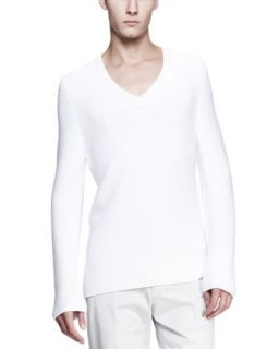 Mens Long Sleeve V Neck Sweater, White   Maison Martin Margiela   White (X