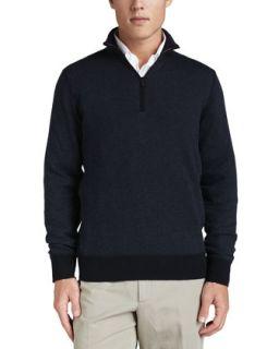 Mens Roadster Half Zip Cashmere Sweater, Navy   Loro Piana   Navy blue/Nightly