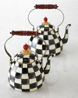 Two Quart Courtly Check Tea Kettle   MacKenzie Childs