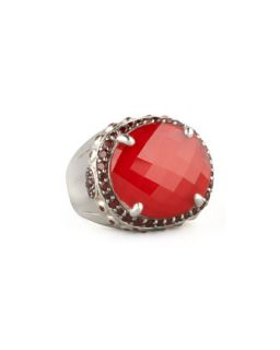 Faceted Garnet Dome Ring   John Hardy   Silver (7)