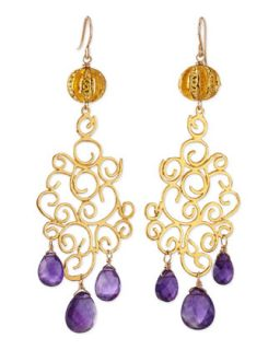 18k Gold Plate Amethyst Drop Earrings   Devon Leigh   Purple (18k )