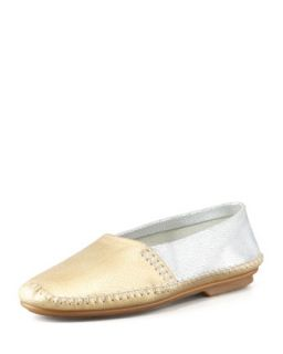 Davies Topstitched Metallic Moccasin, Gold/Silver   Jacques Levine