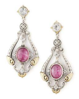 Ruby/Quartz Doublet & Sapphire Chandelier Earrings   KONSTANTINO   Silver/Gold