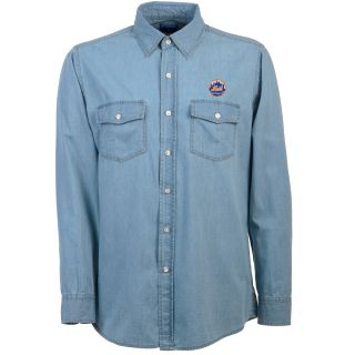 Antigua New York Mets Mens Long Sleeve Chambray Shirt   Size: Medium, Chambray