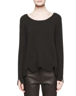 Womens Camille Notched Cashmere Sweater   THE ROW   Black (MEDIUM)