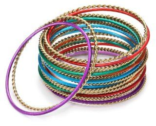 "Leslie Danzis ""Pali"" Multi Colored Set Of 18 Stacking Bangles Bangle Bracelets Jewelry"
