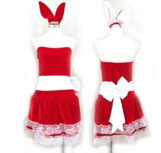 Immediate delivery! Sexy Santa Girl Bunny Girl Christmas Santa Claus Costume Dress 4 Piece Set (japan import): Toys & Games