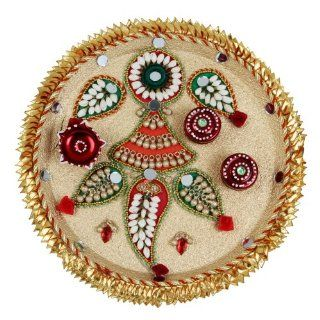 Decorative Aarti / Pooja Thali with Golden Base   MAN : Decorative Plates : Everything Else