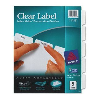 AVE11416 INDEX, LASER, LTR, WE, 5TAB : Binder Index Dividers : Office Products
