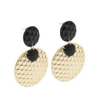 Round Pandent Ear Ornament Earbobs Earrings Gold Tone Black Pair for Ladies Jewelry
