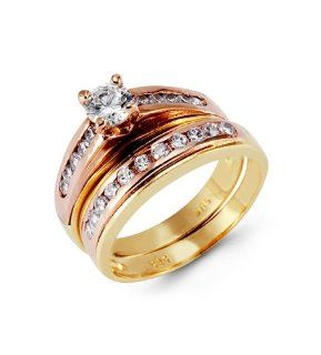 14k Yellow Rose Gold Round CZ Channel Wedding Ring Set: Jewelry