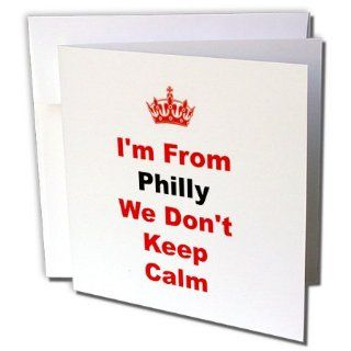 gc_180033_2 Xander Keep Calm quotes   dont keep calm, Philly, red and blue lettering on white background   Greeting Cards 12 Greeting Cards with envelopes