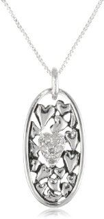 """Sterling Silver """"The Love Between a Mother and Daughter Knows No Distance"""" Oval Pendant with Diamond Pave Heart Necklace (.1 cttw, I J Color, I2 I3 Clarity), 18"""": Jewelry"""