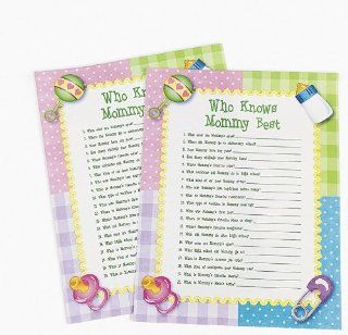 Paper Who Knows Mommy Best Baby Shower Game (144 Sheets) : Baby