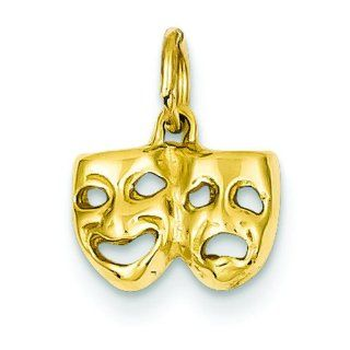 14K Gold Comedy & Tragedy Charm Smile Now Cry Later: Clasp Style Charms: Jewelry