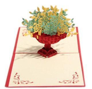 DIY Hand Made 3D Paper Sculptures Birthday Card/Cornucopia Shape, Red: Health & Personal Care