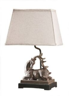 CBK Ltd Rustic Deer Design Table Lamp with Hand Carved Look Antlers, 18 Inch H