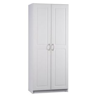 Ameriwood Contemporary Deluxe Double Door Pantry Cabinet in White   Pantry Cabinets