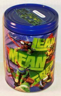 "Teenage Mutant Ninja Turtles TMNT ""Lean Mean Green"" Round Tin Bank with Easy Off Lid"