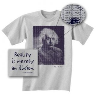 Albert Einstein T shirt   Reality Is Merely an Illusion Adult Grey Tee Shirt: Clothing